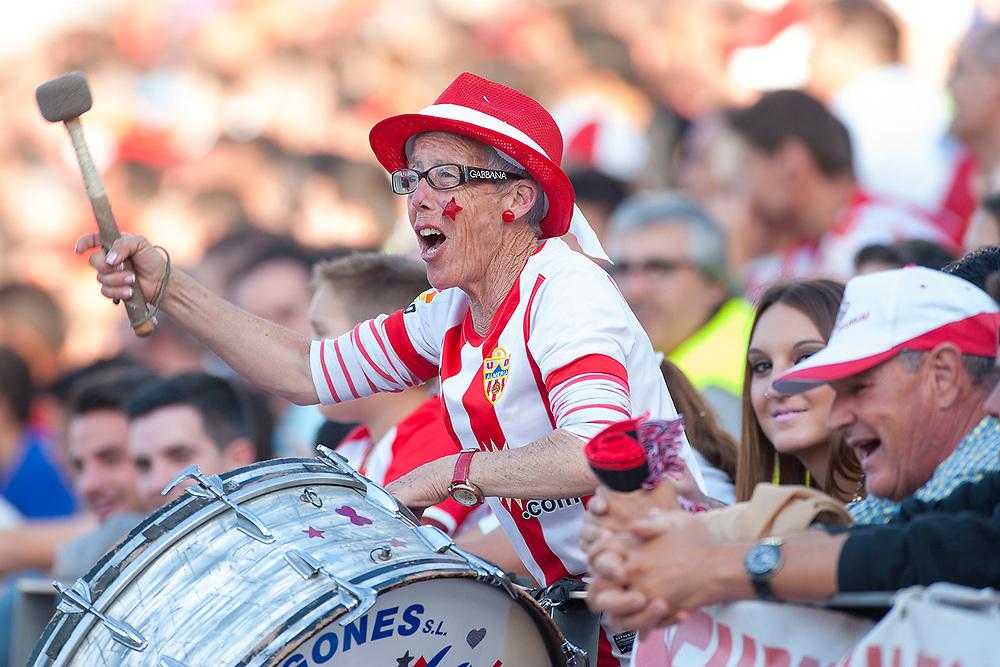 ALMERIA, ESPANA - 18 DE MAYO: Tita Enriqueta, aficionada del UD Almeria, durante el partido de Liga BBVA entre UD Almeria y Athletic Club de Bilbao en el Estadio de los Juegos Mediterraneos el domingo 18 de mayo de 2014 en Almeria, Espana. (Photo by Aitor Bouzo)