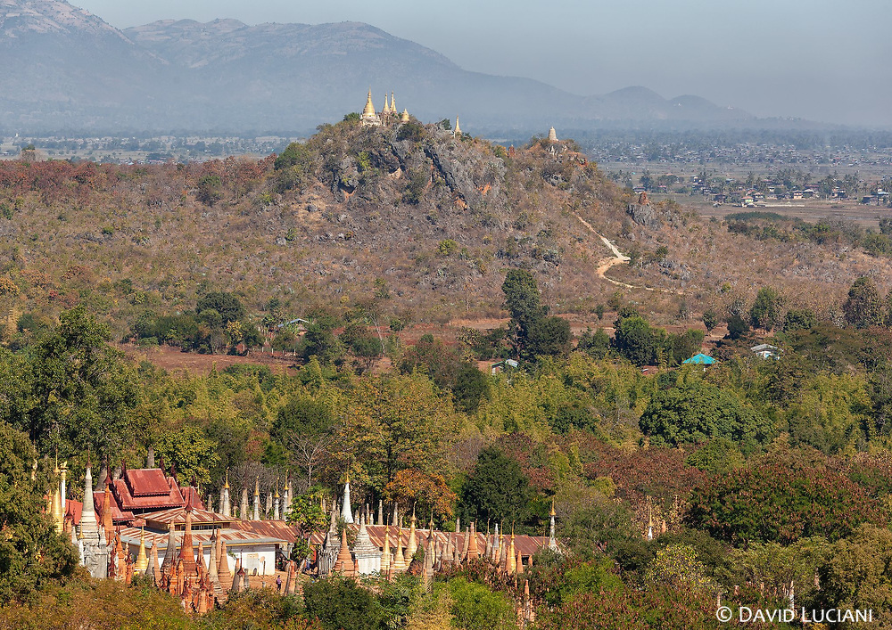 View over the Pagodas of Indein, seen from a higher viewpoint.