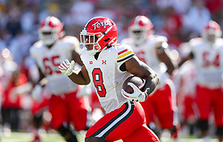 Sep 4, 2021; College Park, Maryland, USA; Maryland Terrapins running back Tayon Fleet-Davis (8) catches a pass and runs for extra yards during the first quarter against the West Virginia Mountaineers at Capital One Field at Maryland Stadium. Mandatory Credit: Ben Queen-USA TODAY Sports