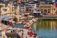 Inde, Rajasthan, Pushkar, ville sainte pour les hindous, le lac sacré entouré de 52 ghats // India, Rajasthan, Pushkar, holy city for Hindu