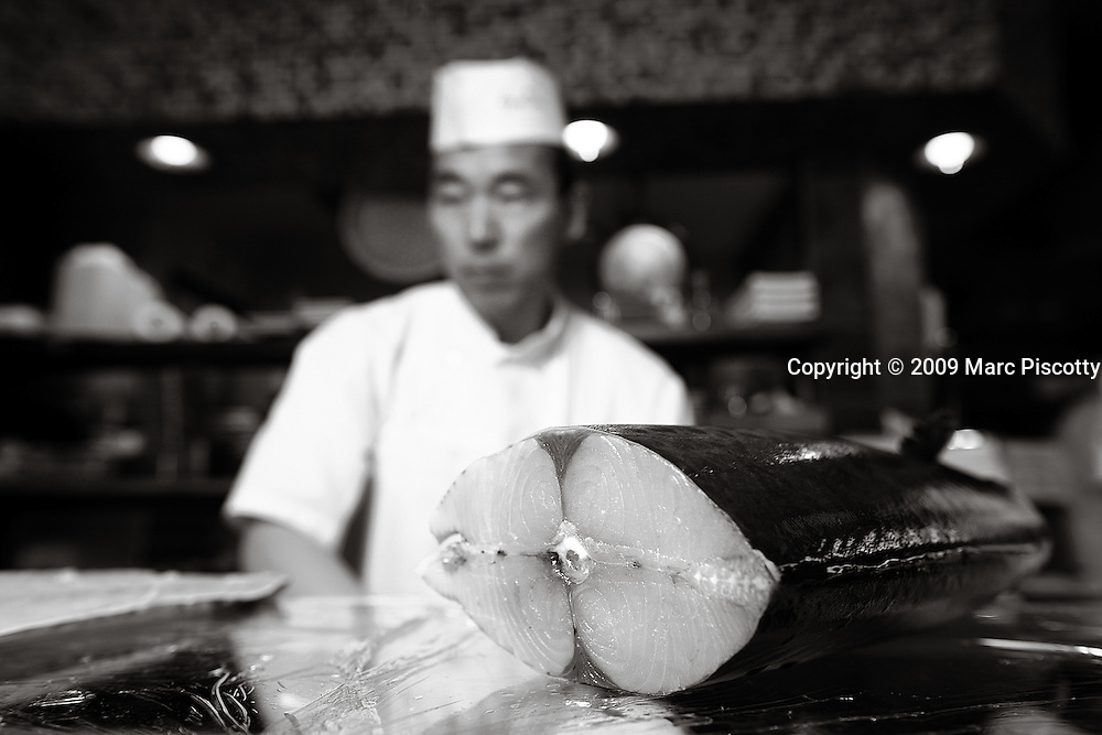 SHOT 4/1/09 11:11:03 AM - Sushi Den sushi chef Young Jo Kwon of Denver helps as the restaurant's sushi chefs prepare some 600 pounds of fresh fish shipped in from Japan at the Pearl Street sushi restaurant. Kwon has worked at the restaurant for about a year. Sushi Den is consistently ranked as one of Denver's best restaurants.  The owners strive to create one of the top sushi restaurants in the world by providing consistently fresh, innovative healthy foods using only the finest ingredients..(Photo by Marc Piscotty / © 2009)