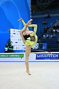 Staykova Sara during qualifying hoop at the Pesaro World Cup 01 April 2016. Sara is an Bulgarian individual rhythmic gymnast, she was born in 13 November 1993 Plovdiv, Bulgaria.She retired from rhythmic gymnastics in May 2016.