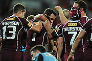May 25th 2011: Cameron Smith & Billy Slater of the Maroons celebrate a try during game 1 of the 2011 State of Origin series at Suncorp Stadium in Brisbane, Australia on May 25, 2011. Photo by Matt Roberts/mattrIMAGES.com.au / QRL