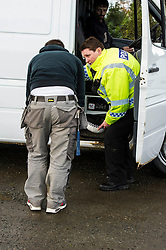 Pictured: Shawn Wilson from Penicuik appreciated the advice re load capaity offered by PC Elaine Fraser<br /> <br /> Police Scotland luanched a series of vehicle checks to be carried out by the Lothians and Scottish Borders Division Road Policing Unit. Inspector Roddie MacMillan oversaw the checks which are part of activity taking place across Scotland this week to help drivers get ready for winter, ensuring their vehicles are maintained and they are aware of the different hazards the changing seasons and weather can bring. <br /> <br /> Ger Harley | EEm 18 October 2016