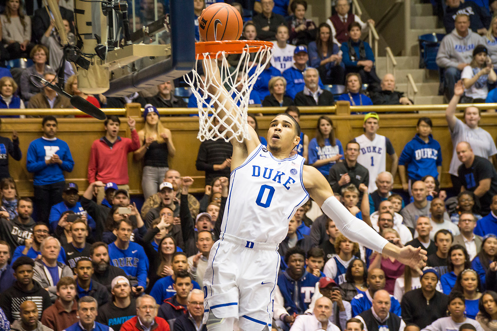 Jayson Tatum slams it down as the Duke Blue Devils host the Tennessee State Tigers on December 19, 2016.