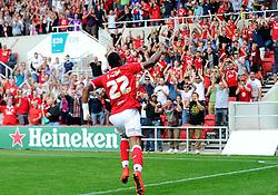 Jonathan Kodjia of Bristol City celebrates his goal  - Mandatory byline: Joe Meredith/JMP - 07966386802 - 15/08/2015 - FOOTBALL - Ashton Gate -Bristol,England - Bristol City v Brentford - Sky Bet Championship