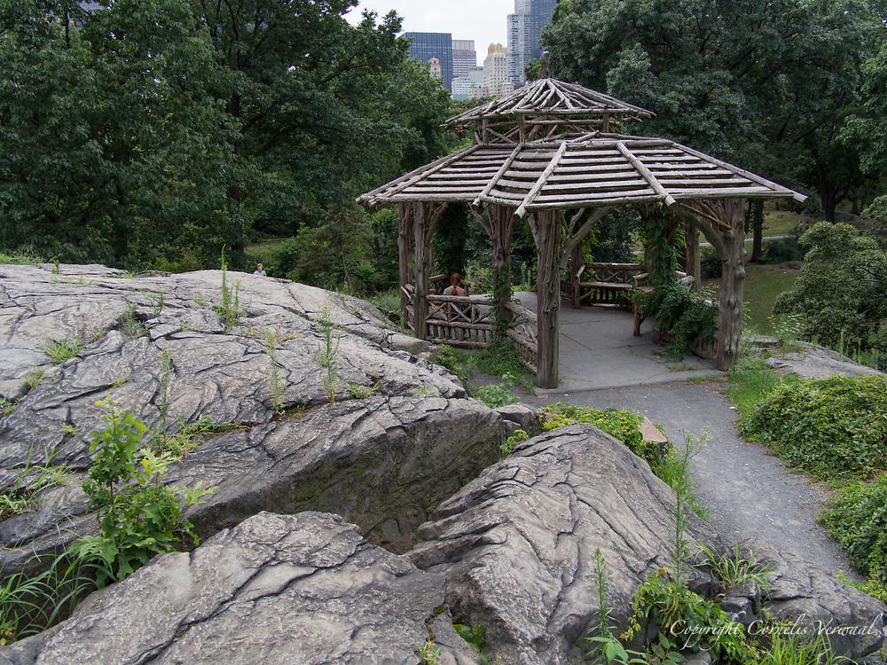 Rustic shelter at the Dene, Central Park.