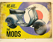 We are the Mods motorcycle scooter 1960s metal sign, Marlesford Mill, Suffolk, England, UK