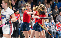 HAMBURG  (Ger) - Semi Final , match 15,  LHMC Laren v Der Club an der Alster (Ger) . Foto: Mila Muyselaar (Laren)scored and celebrates with Lisanne de Lange (Laren) (l)   . Eurohockey Indoor  Club Cup 2019 Women . WORLDSPORTPICS COPYRIGHT  KOEN SUYK