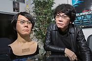 Professor Hiroshi Ishiguro tillsammans med roboten Geminoid HI-5. Osaka University, Japan<br /> <br /> Professor Hiroshi Ishiguro together with the robot Geminoid HI-5. Osaka University, Japan<br /> <br /> Photographer: Christina Sjögren<br /> Copyright 2018, All Rights Reserved