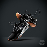 A dynamic shot of a pair of modern running shoes.