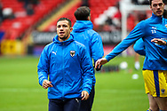 AFC Wimbledon midfielder Cheye Alexander (7) warming up prior to kick off during the EFL Sky Bet League 1 match between Charlton Athletic and AFC Wimbledon at The Valley, London, England on 12 December 2020.