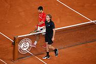 NOVAKDJOKOVIC (SRB) and Stefanos TSITSIPAS (GRE) at the end of the match during the Roland Garros 2020, Grand Slam tennis tournament, on October 9, 2020 at Roland Garros stadium in Paris, France - Photo Stephane Allaman / ProSportsImages / DPPI