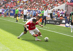July 28, 2018 - Harrison, New Jersey, United States - Franco Cervi (11) of Benfica & Joao Cancelo (20) of Juventus fight for ball during ICC game at Red Bull Arena Juventus won 1 - 1 (4 -2) on penalties (Credit Image: © Lev Radin/Pacific Press via ZUMA Wire)