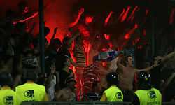 Fans of Dinamo at 1st football game of 2nd Qualifying Round for UEFA Champions league between NK Domzale vs HNK Dinamo Zagreb, on July 30, 2008, in Domzale, Slovenia. Dinamo won 3:0. (Photo by Vid Ponikvar / Sportal Images)