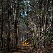 A member of the Mecklenburg County Parks & Rec lays down a line of fire during a controlled burn at Cowans Ford Nature Preserve in Huntersville, NC.
