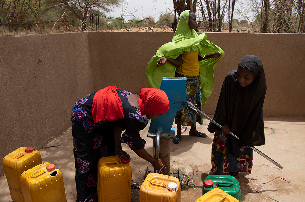 Nigeriens usually have to travel miles to the nearest well and spend hours hand pumping water. with the help of Civil Affairs from Air Base 201. Local wells are being converted to Solar powered wells. cutting the time to get water in half.