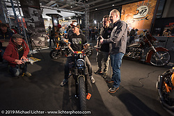 Unveiling at Custom Chrome Europe of Danny Schneider's latest creation with Andreas Scholz at Motor Bike Expo. Verona, Italy. Friday January 19, 2018. Photography ©2018 Michael Lichter.