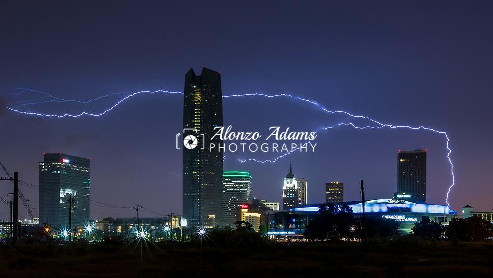 Upward lightning over downtown Oklahoma City on May 16, 2018. Photo by Alonzo J. Adams