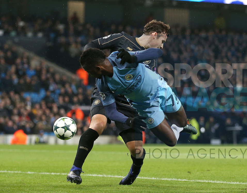 Kelechi Iheanacho of Manchester City flicks the ball around Erik Sviatchenko of Celtic during the Champions League Group C match at the Etihad Stadium, Manchester. Picture date: December 6th, 2016. Pic Simon Bellis/Sportimage
