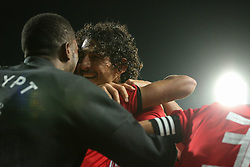 November 16, 2018 - Alexandria, Egypt - Egypts players celebrate after scoring a goal during the Africa Cup of Nations qualifier match between Egypt and Tunis on Novmber 16, 2018 in Borg AlArab stadium.  Egypts beat tunis 3-2. (Credit Image: © Ahmed Awaad/NurPhoto via ZUMA Press)