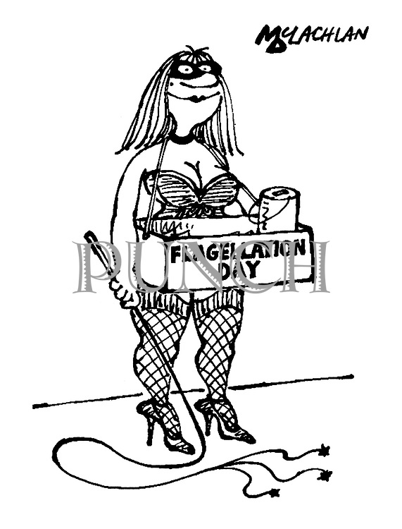 (A dominatrix with a whip stands on a pavement collecting for Flagellation Day)