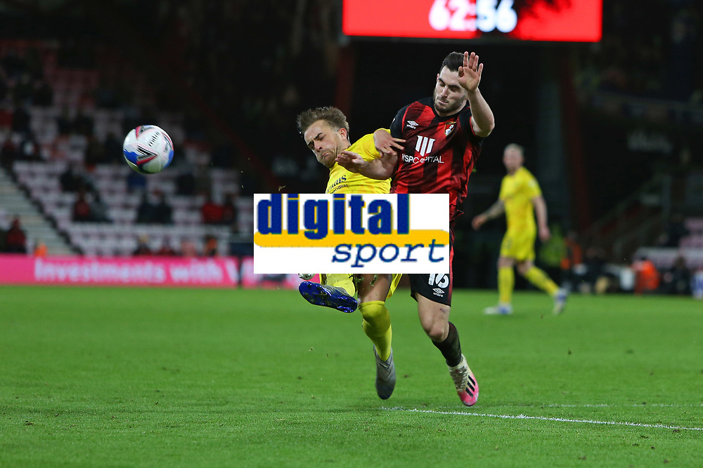 Football - 2020 / 2021 Sky Bet Championship - AFC Bournemouth vs. Wycombe Wanderers - The Vitality Stadium<br /> <br /> Alex Pattison of Wycombe flies into the tackle on Bournemouth's Lewis Cook to earn a red card during the Championship match at the Vitality Stadium (Dean Court) Bournemouth <br /> <br /> COLORSPORT/SHAUN BOGGUST