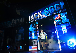 Jack Sock walks out to face Grigor Dimitrov during day seven of the NITTO ATP World Tour Finals at the O2 Arena, London.