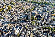 Nederland, Utrecht, Gemeente Utrecht, 30-09-2015; de Utrechtse binnenstad,  Domplein met Domtoren en Domkerk. Buurkerk in de voorgrond, Vismarkt, Oudegracht.<br /> Downtown Utrecht and city centre.<br /> luchtfoto (toeslag op standard tarieven);<br /> aerial photo (additional fee required);<br /> copyright foto/photo Siebe Swart