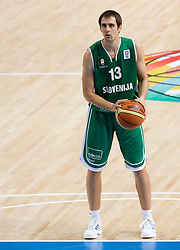 Domen Lorbek (13) of Slovenia during the basketball match at Preliminary Round of Eurobasket 2009 in Group C between Slovenia and Spain, on September 09, 2009 in Arena Torwar, Warsaw, Poland. Spain won 90:84 after overtime. (Photo by Vid Ponikvar / Sportida)
