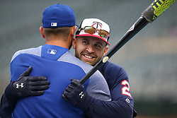 April 3, 2017 - Minneapolis, Minnesota, USA - Kansas City Royals Drew Butera left and Twins Brain Dozier embraced at Target Field on opening day Monday April 3, 2017 in Minneapolis, MN.]  JERRY HOLT • jerry.holt@startribune.com (Credit Image: © Jerry Holt/Minneapolis Star Tribune via ZUMA Wire)