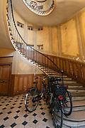 Stairs of a building inside Galerie Vivienne in Paris