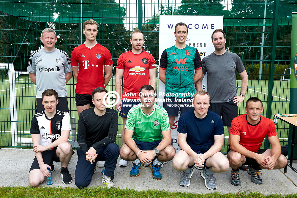 04-08-21, Garda youth diversion Soccer Initiative project at Our Lady of Mercy school, Kells.<br /> Members of the Gardai team who took part in the Soccer Initiative project in association with Meath Sports Partnership.<br /> Back Row, L-R, Padraig Keegan, Dean Rudderford, Gary Rogers, Gerry Burke, Brendan Noone.<br /> Front Row, L-R, Stephen Rennicks, Conor Carolan, Robert Smith, Richard Gaye, Martin Reilly.<br /> Photo: David Mullen / www.quirke.ie ©John Quirke Photography, Proudstown Road Navan. Co. Meath. 046-9079044 / 087-2579454.<br /> ISO: 320; Shutter: 1/250; Aperture: 6.3;