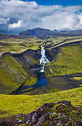 Ófærufoss is a waterfall situated in the Eldgjá chasm in central Iceland. Until the early 1990s a natural bridge spanned the falls, but it collapsed from natural causes.