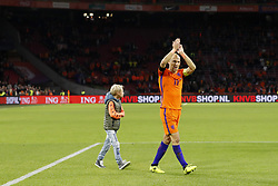 (L-R)  Luka Robben, Arjen Robben of Holland, during the FIFA World Cup 2018 qualifying match between The Netherlands and Sweden at the Amsterdam Arena on October 10, 2017 in Amsterdam, The Netherlands