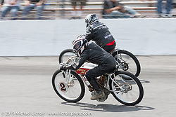 Rick Petko racing his 1919 Indian Powerplus board track style racer in the Sons of Speed Vintage Motorcycle Races at New Smyrina Speedway. New Smyrna Beach, USA. Saturday, March 9, 2019. Photography ©2019 Michael Lichter.