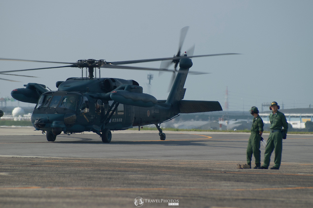 A Sikorsky / Mitsubishi UH-60 Blackhawk helicopter used for rescue operations by the Japanese Air Self-Defence Force.