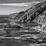 Big Sur Coastline - Pfeiffer State Beach - HDR - Black & White