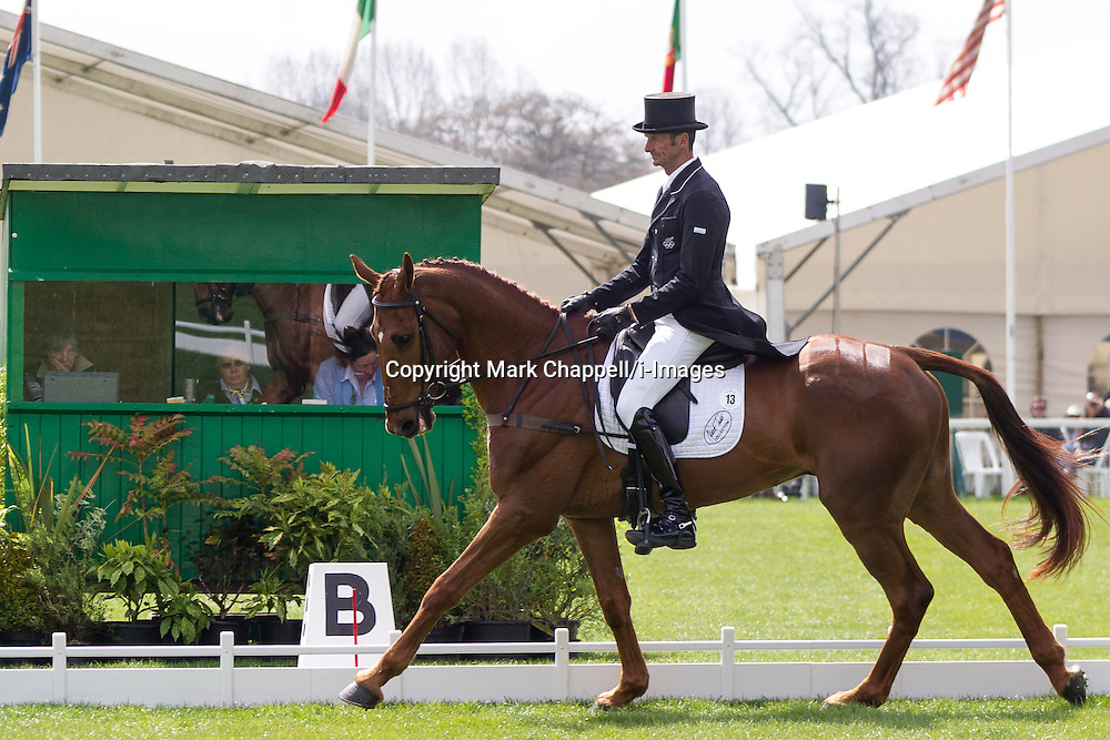 Mark Todd (NZL) and Major Milestone compete in the dressage test during the first day of the 2013 Mitsubishi Motors Badminton Horse Trials.  Friday 03  May  2013.  Badminton, Gloucs, UK.<br /> Photo by: Mark Chappell/i-Images