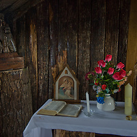 Altar in tiny chapel at Cape Horn, Tierra del Fuego, Chile, the southernmost place in South America