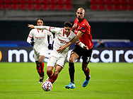 Oliver Torres of Sevilla FC, Steven Nzonzi of Stade Rennais during the UEFA Champions League, Group E football match between Stade Rennais and Sevilla FC (FC Seville) on December 8, 2020 at Roazhon Park in Rennes, France - Photo Jean Catuffe / ProSportsImages / DPPI