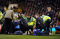 Owen Coyle Manager watches his player Fabrice Muamba given emergency CPR by Paramedics on the pitch<br />Bolton Wanderers 2011/12<br />Tottenham Hotspur V Bolton Wanderers 17/03/12<br />The FA Cup 6th Round<br />Photo: Robin Parker Fotosports International