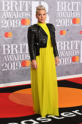 February 21, 2019 - London, London, United Kingdom - Image licensed to i-Images Picture Agency. 20/02/2019. London, United Kingdom. Pink arrives at the Brit Awards in London. (Credit Image: © i-Images via ZUMA Press)
