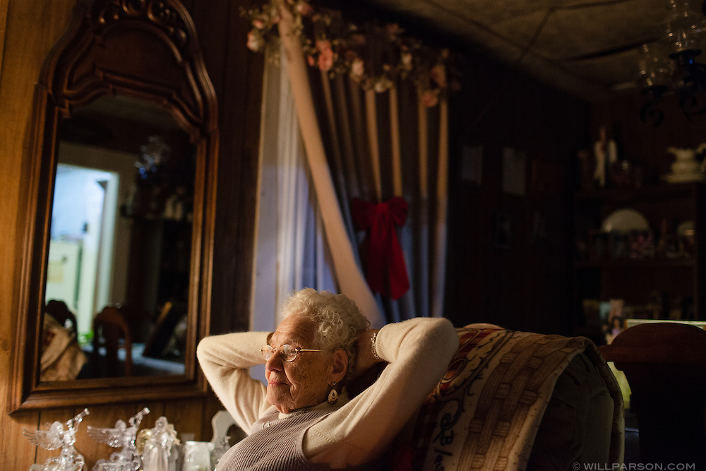 """Thelma Trout, 98, lives alone outside of Coolville, Ohio, even though friends and family have urged her to move from her rural home to a more developed area. """"I'm doin' great by myself,"""" Trout said."""