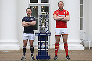 Greig Laidlaw, the Scotland captain and Alun Wyn Jones, the Wales captain pose with the Six Nations Trophy. RBS Six Nations 2017 media launch at the Hurlingham Club, Ranelagh Gardens in London on Wednesday 25th January 2017.<br /> pic by John Patrick Fletcher, Andrew Orchard sports photography.