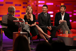 (left to right) Graham Norton, Amy Adams, Jeremy Renner and Chris O'Dowd during the filming of The Graham Norton Show at the London Studios in London, to be aired on BBC1 on Friday evening.