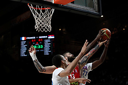 12.09.2014, City Arena, Madrid, ESP, FIBA WM, Frankreich vs Serbien, Halbfinale, im Bild France´s Pietrus (R) and Serbia´s Raduljica // during FIBA Basketball World Cup Spain 2014 semifinal match between France and Serbia at the City Arena in Madrid, Spain on 2014/09/12. EXPA Pictures © 2014, PhotoCredit: EXPA/ Alterphotos/ Victor Blanco<br /> <br /> *****ATTENTION - OUT of ESP, SUI*****