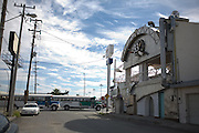""".Buses pass the old """"Steel 33 Cafe"""" in Juarez Mexico on Saturday, Oct. 10, 2009.."""
