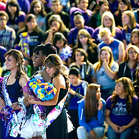 100512  Adron Gardner<br /> <br /> Homecoming queen finalists Cara DePauli, Nicole Money and Aikiko Herrera during the homecoming assembly at Miyamura High School in Gallup Friday.