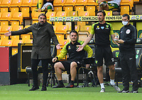 Football - 2019 / 2020 Premier League - Norwich City vs. Burnley<br /> <br /> Norwich City manager Daniel Farke frustrated as Josip Drmic is shown a red card as Norwich City go down to ten men, at Carrow Road.<br /> <br /> COLORSPORT/ASHLEY WESTERN
